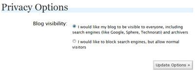 Wordpress options > make blog visible