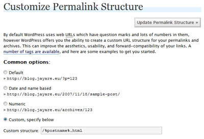 Wordpress options > customize the permalink structure
