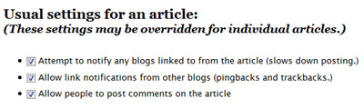 Wordpress options > notify blogs linked to from article