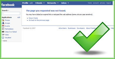 404 Error Page Not Found page on Facebook