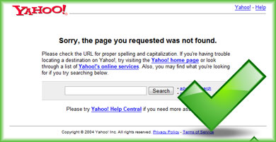 404 Error Page Not Found page on Yahoo!