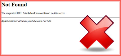 404 Error Page Not Found page on YouTube