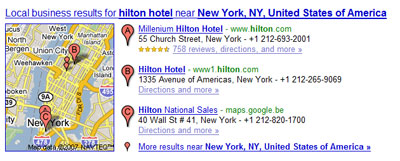 Google universal search: local business and maps