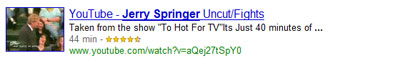 Google universal search: videos