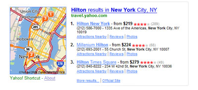 Yahoo! universal search: local business and maps