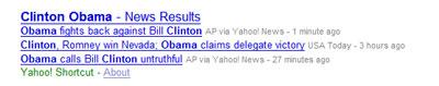 Yahoo! universal search: news
