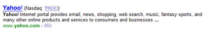 Yahoo! stock information
