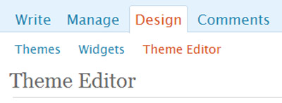 Wordpress > Design > Theme Editor